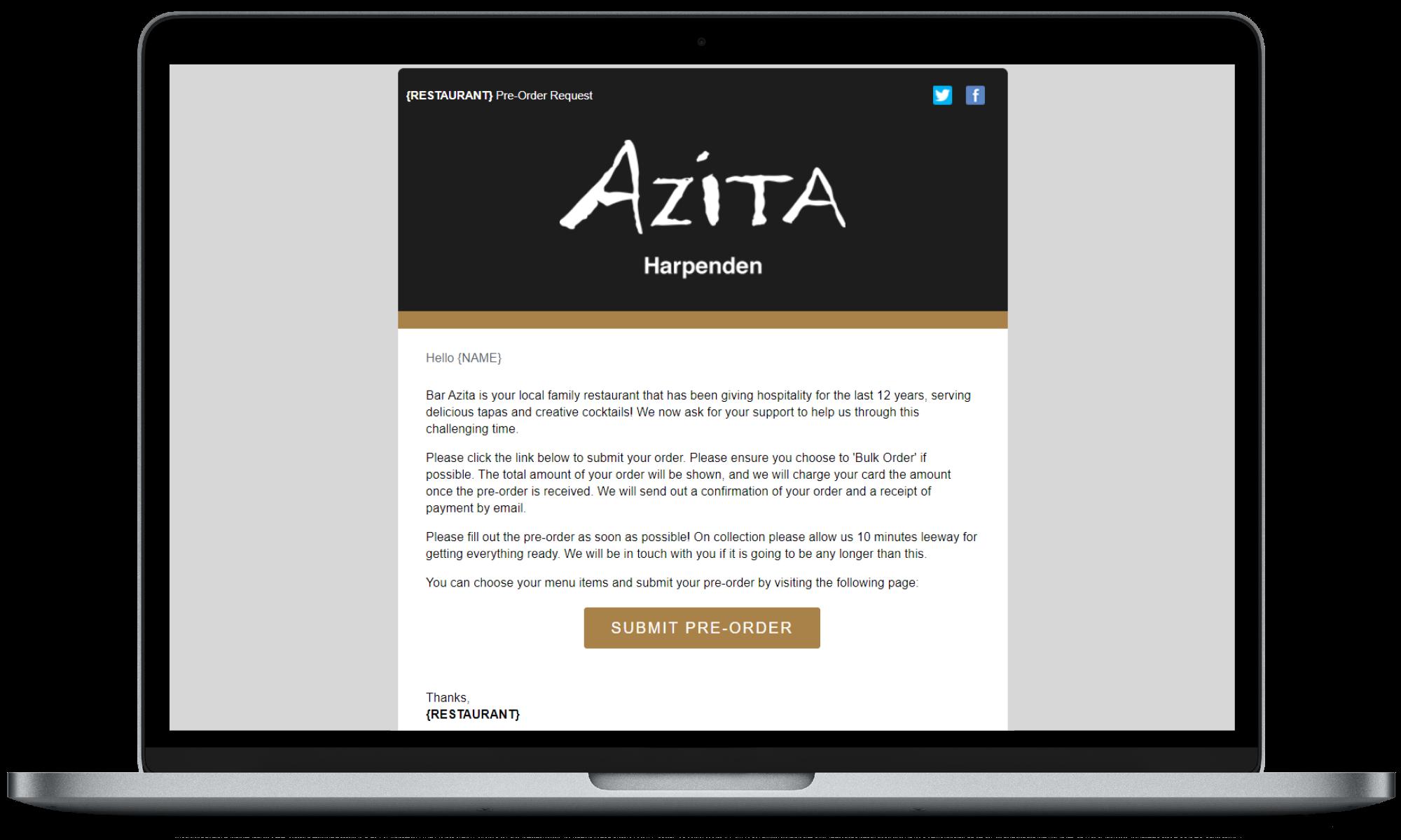 Bar Azita Pre-Order collection slot information